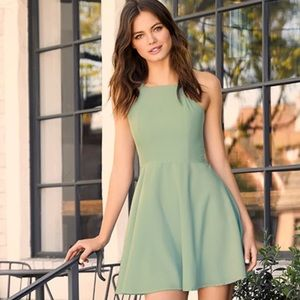 New Lulus Call to Charms Sage Green skater dress